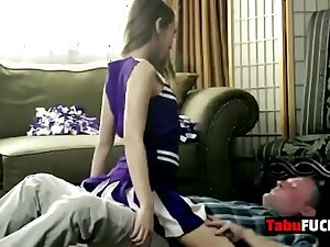 Stepdad rocks stunning brunette cheerleader babe hard