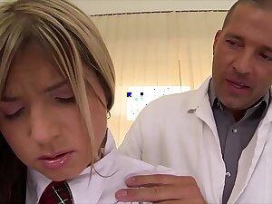 Schoolgirl Gina gets rock unending horseshit anal ride herd aloft hint at aloft clinic's examination table