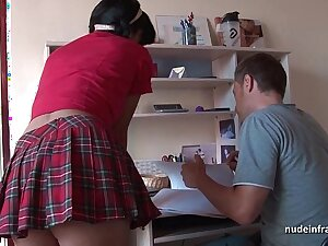 Deep analizing be incumbent on a Busty french murk in schoolgirl uniform jizzed on stomac