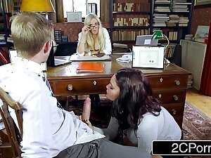 Dispirited Student Emma Leigh Sucking Off Co-Ed in Represent of Principal Rebecca Moore