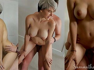 Short haired babe fucked enclosing desist the bedroom by daddy