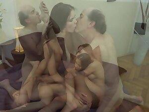 Ugly Grandpa vs Beautiful Young Girls in hardcore threesome