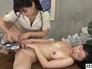 Japanese lesbian massage – naked purchaser gets fingering treatment