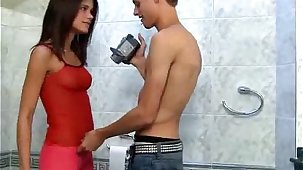 Little Caprice caught pissing & fucks on camera right in the masterliness room