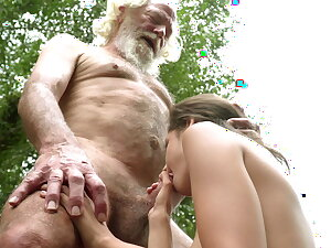 70 year old grandpa fucks 18 year old spread out moaning excitedly