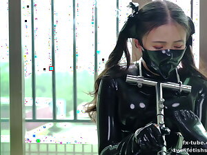 Cute latex comprehensive does metal bondage and breathplay