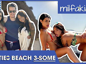 Rosa & Sofia enjoying dick & pussy at the beach! Milfakia.com