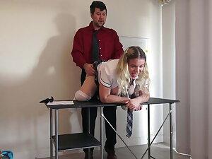 Naughty schoolgirl has a butt spot announcement for her teacher