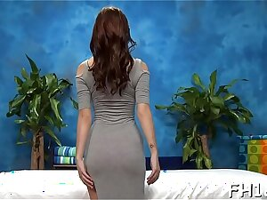 This titillating 18 year old hot girl gets fucked hard doggystyle by her massagist