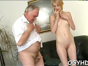 Young active hotty blows old ramrod