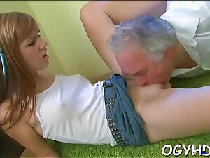 Brave young girl drilled by old balk