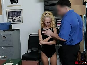 Petite peaches groped by a security guard