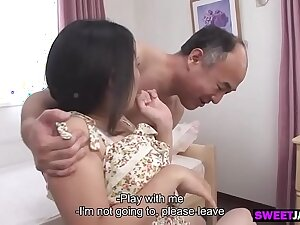 the old japanese man and the cute girl