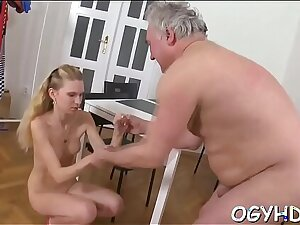 Young playgirl sucks plus rides old rod