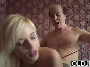Young girl seduces aged man she gets fucked lovable niggardly pussy and asshole