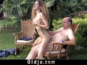 Cute curly teen gets laid with fat grandpa