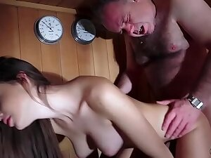 Dad Fucked Spectacular Virgin Young Pussy Gives Blowjob and Swallows slay rub elbows with Cum