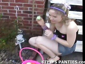 Petite teen Kitty in a Hula Girl costume
