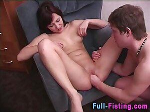 Clean Shaved Pussy Gets Deep Fisting