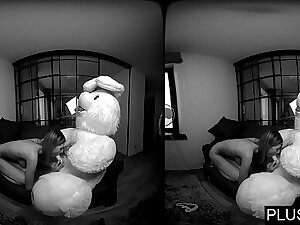 3D VR porn video, Lucy K sucking and jerking off teddy bear and receiving cum on tits