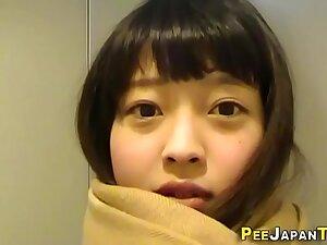 Cute japanese teen pees