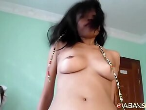 Tight Cambodian pussy fucked until deep cutting creampie filling from white newcomer