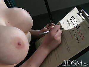BDSM XXX Teen redhead slave girl is suspended after virile blow job as Master fingers her wet hole