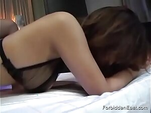 Toothsome Japanese Girl Wearing Leather And Metal Bodice Gets Hairy Pussy Fucked